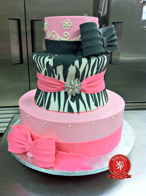 sweet 16 three tiered cake pink black zebra design sugar bow crystal brooches