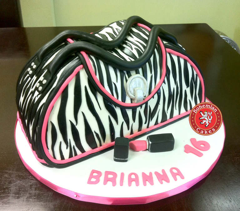 3D BLACK PINK ZEBRA PURSE CAKE