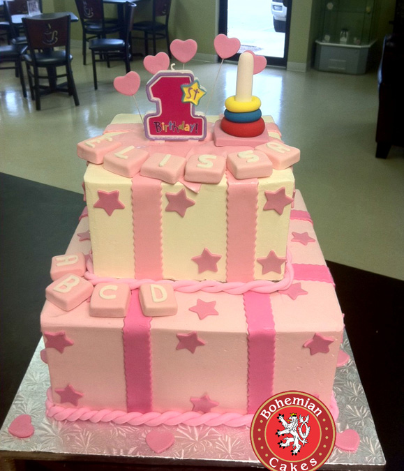 PINK STARS FIRST BIRTHDAY CAKE