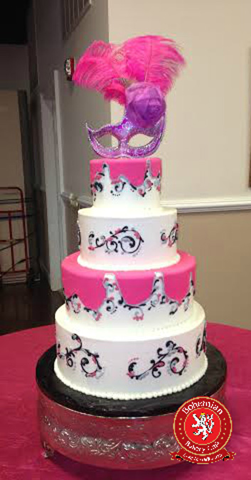 four tiered sweet 16 round cake white black and pink design