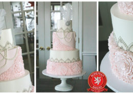 Pink Silver Art Deco Wedding Cake