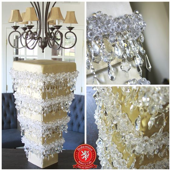 Upside Down Crystal Wedding Cake