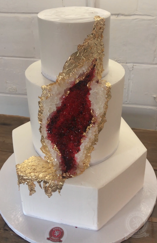 Ruby Red Geode Cake With Edible Gold Bohemian Bakery